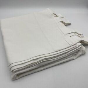 """New Scenario Pair of Curtains 100% Cotton 260cm 102"""" Drop Tab Top White"""