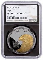 2019 Fiji Blackened Eagle 1 oz Ruthenium Plated Gilt $1 NGC PF70 UC Blk SKU57844