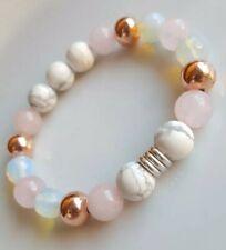 White Howlite Moonstone,Rose gold beads & Links Of London silver rings Bracelet