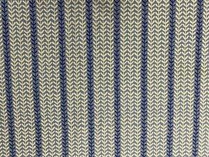 Seagrass  Stripe Blue Ivory  Cotton  Curtain/Craft Fabric