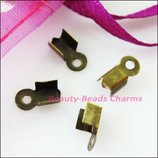 80Pcs Fold Over End Cord Crimp Bead Caps 4.5x11mm Gold Silver Dull Bronze Plated