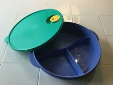 Tupperware Crystalwave Round Blue Divided Dish 3284C with Green Vented Lid 2651A