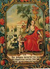Alte Kunstkarte - Der Frühling - Bemalte Türfüllung von J. Böheim