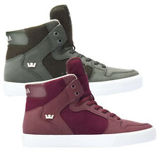 Supra Mens Vaider Lace Up Active Gym Sport Hi Tops Olive Burgundy Trainers