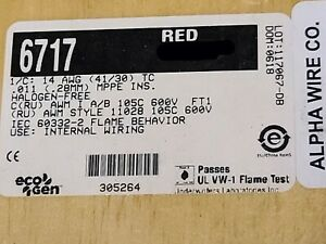 Alpha Wire 6717 #14awg EcoWire mPPE Tinned Copper Hook Up Wire 600V Red /50ft