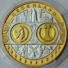 Netherlands, United Europe coin, intro of Euro currency 1999 Silver Gold Plated