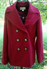 MICHAEL KORS Red Wool Blend Classic Pea Coat Large