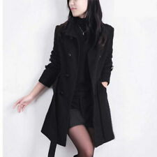 Womens Wool Blend Trench Coats Double-Breasted Belted Outwear Jacket coat parka