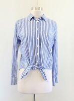 J Crew Striped Printed Tie Waist Front Button Down Shirt Blouse Sz S Blue White