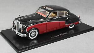 Neo Models Jaguar MkVIII Mk8 in 2 Tone Dark Red and Black 1955 49549 1/43 NEW