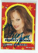 Christy Hemme Signed 2005 Topps Heritage WWE Diva Sticker Card #10