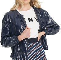 DKNY Womens Bomber Jacket Navy Blue Size Medium M Vinyl Drawstring-Hem $139 598