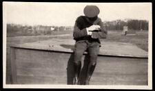 MYSTERY MAN CUDDLES FACELESS FUZZY MYSTERY CAT? ~ 1910s VINTAGE PHOTO