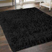 Black Thick Dense Pile Super Soft Living Room Bedroom Shaggy Shag Area Rug