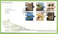 G.B. 2009 Darwin set on Royal Mail First Day Cover, Shrewsbury
