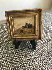 Miniature oil painting framed signed barn & landscape with stand vintage