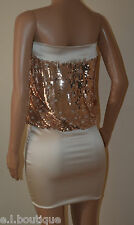 VICKY MARTIN copper gold strapless sequin bodycon mini party dress BNWT 8 10 (1)