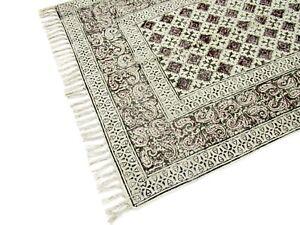 Indian Cotton Area Mat Home Décor Rag Black Color Hippie Rug Woven Dari Runner