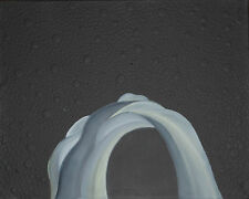 """Original Oil Painting """"Black Dotted Cavern"""" on Canvas 20"""" x 16"""" Abstract Art"""