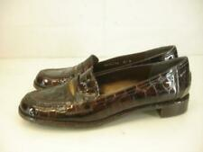 Womens 8.5 N Stuart Weitzman Brown Patent Leather Alligator Shoes Penny Loafers