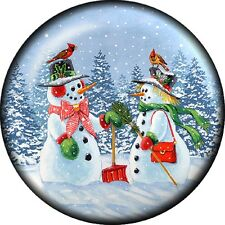 Snap button Snowman Couple 18mm charm chunk cardinal