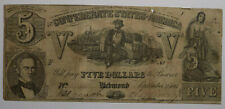 1861 Confederate States of America $5 Banknote T-37 Vg+ cut cancelled