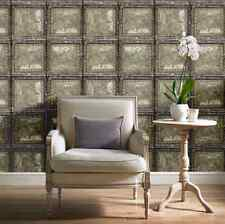 Vintage Brooklyn Tin Grey Gold Brass Metal Panel Tile Wallpaper Industrial Retro