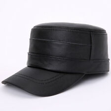 Men Real Genuine Cowhide Leather Hat Flat Top Visor Cap Army Hat Fashion Hats