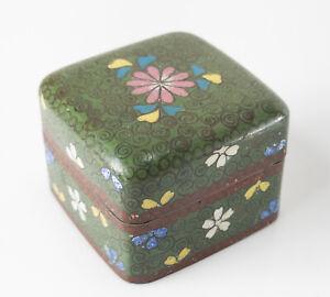 Antique Japanese Cloisonne Enamel Floral Covered Box