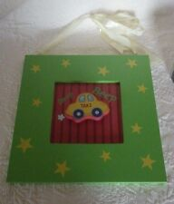 """Baby Picture Taxi Cab Car Green Photo Framed Hanging 11.5"""" x 11.5"""""""