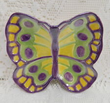 Fitz & Floyd Painting Easter Eggs Butterfly Dish Plate Candy Snack Canape Purple