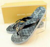 MICHAEL KORS Size 9 Navy Blue MK Logo PVC Women's Flip Flops MSRP $75