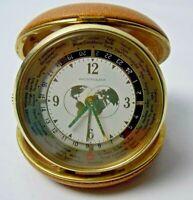 Westclox World Travel Alarm Clock Brass Hardware Vintage Japan Tan Case EUC