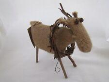 Primivite Burlap Reindeer w grapevine wreath Honey & Me New Christmas small New