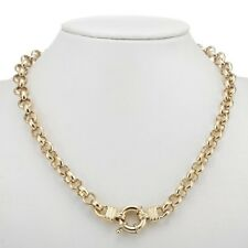 18K Yellow Gold GL Womens Solid Chunky Belcher Necklace with Life Buoy Bolt Ring