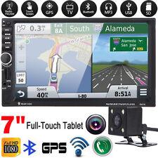 "7"" 2 DIN Car GPS Nav Bluetooth Stereo Radio MP3 Player TV FM Touchscreen +Camera"