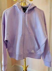Adidas Essentials Linear Hoodie-Womens Casual Purple Tint White Stripes size M