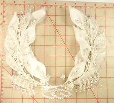 Vintage white bridal hair wreath head piece leaves tiny flowers pearl accents 9""