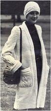 Ladies' Aran yarn Vintage Knitting & Crochet Combined Pattern for Coat & Hat