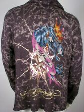 Ed Hardy Mens Hoodie Sweater Panther Studded Dark Grey Charcoal, New w/Tag, XL