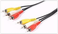 1.5m Long Triple 3 X Phono Cable Audio Composite Video RCA Lead Red White Yellow