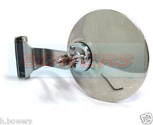 """4"""" CLAMP CLIP ON CLASSIC CAR ROUND OVERTAKING PEEP QUARTERLIGHT CONVEX MIRROR"""