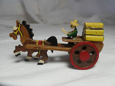 Mini Wooden Horse and Carriage Figure Made in Japan