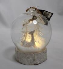 2020 Robert Stanley Deer LED Light Up Glass Snow Globe Christmas Tree Ornament