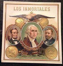 LOS INMORTALES 5 x 5 in. Tampa YBOR Cigar label  Lincoln , Washington