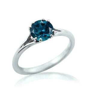 1 Ct Blue Round Cut Diamond Solitaire Engagement Ring In 14k White Gold Over