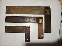 Vintage Try Square Wood and Brass Handle Steel Blade Lot of 3