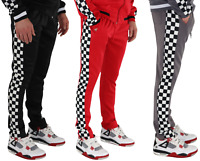 Mens Sport Pants Long Trousers Tracksuit Gym Fitness Workout Joggers Checkered