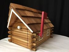 Amish Handmade Handcrafted Rural Mailbox w Flag USPS Wood Roof Log Cabin White