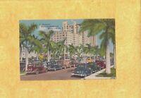 FL Miami 1931-54 vintage postcard AUTOMOBILES ON BISCAYNE BOULEVARD FLORIDA